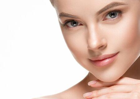 Photo pour Beautiful woman female skin care healthy hair and skin close up face beauty portrait. Studio shot. - image libre de droit