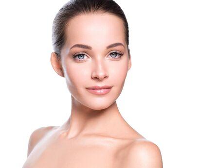 Photo pour Woman beauty face healthy skin natural makeup beautiful young model. Studio shot. - image libre de droit