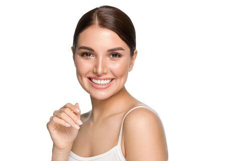 Photo pour Healthy teeth smile woman clean skin natural makeup female portrait over gray background. Studio shot. - image libre de droit