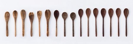 Photo for Kitchenware set of wooden fork, spoon and utensils - Royalty Free Image