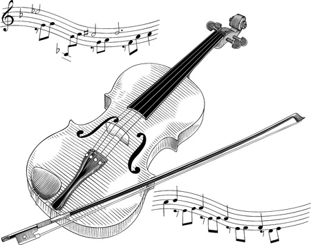 black and white vector illustration of violin