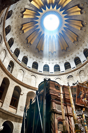 Jerusalem, Israel - June 06, 2015: The Holy Sepulchre Church in Jerusalem. The Holy Sepulchre Church is the most sacred place for all Christians in the world. Golgotha, Stone of Anointing, Jesus Grave