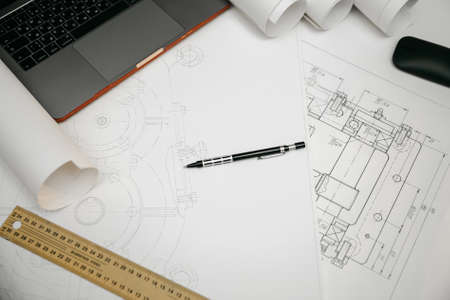 Photo pour Engineering drawings, protractor, notebook, term paper or diploma project. Applied mechanics - image libre de droit