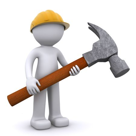 3D construction worker with hammer. Isolated