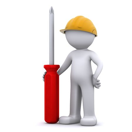 3D construction worker with screwdriver. Isolated