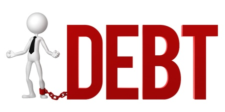 Businessman with a foot chained to a DEBT sign. Conceptual business illustration. Isolated