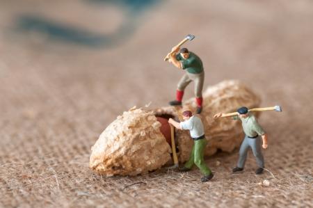 Photo pour Toy figures of lumbermen with a peanut - image libre de droit