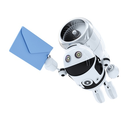 robot flying with envelppe. E-mail delivery concept. Isolated