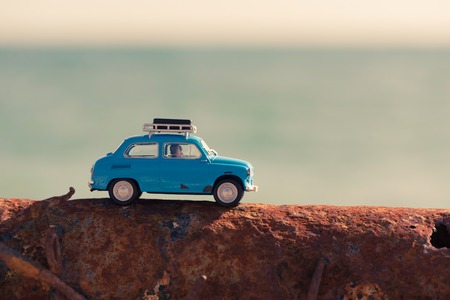 Photo for Vintage car parked near the sea. Travel and adventure concept. - Royalty Free Image