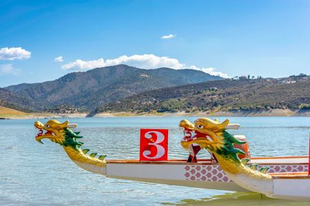 Photo pour Prow of Dragon Boat - traditional Asian longboat. - image libre de droit