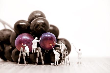 Photo pour Miniature painters coloring red grapes. Macro photo. - image libre de droit