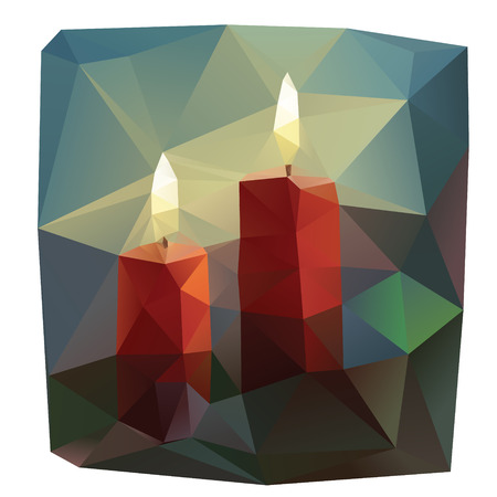 Colorful lowpoly triangulated illustration of firing candlesの素材 [FY31030183663]