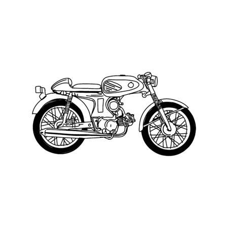 Illustration pour Silhouette of Old Motorcycle - vintage motorcycle - image libre de droit