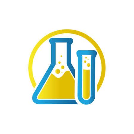 Illustration pour blue yellow flask sign Lab template vector design research science technology symbol - image libre de droit