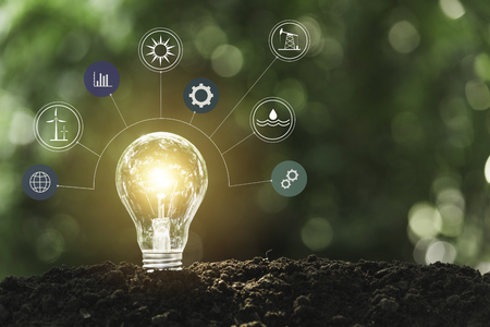 Photo for Light bulbs with glowing one. technology and creativity concept with light bulbs. - Royalty Free Image