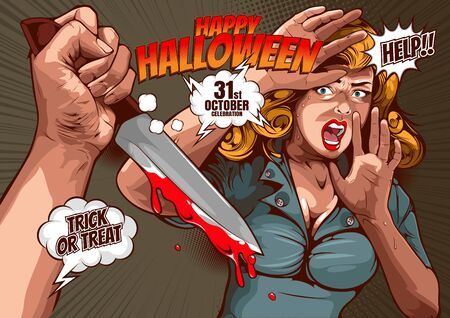Illustration for happy halloween cover template  background, horror comic, picture hand holding a knife and woman in very shocked fear,  and speech bubbles, doodle art, Vector illustration. - Royalty Free Image