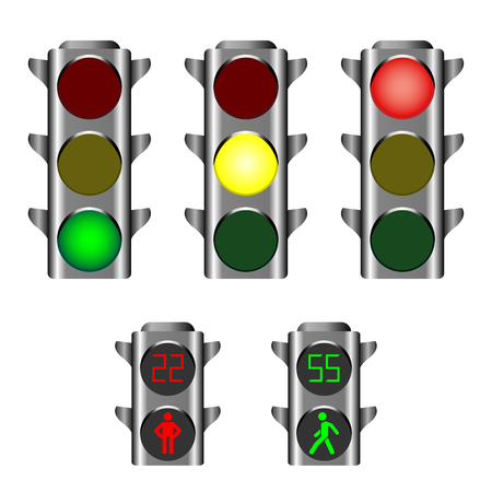 Illustration for Traffic lights showing red, amber or green lights for drivers and pedestrian lights red and green - Royalty Free Image