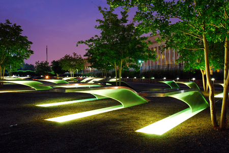 Photo for The Lighted Benches Serve as a Memorial for those Killed at the Pentagon on September 11 - Royalty Free Image