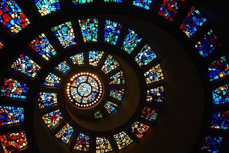 Photo for Spiral Stained Glass of the Thanksgiving Chapel, Dallas - Royalty Free Image