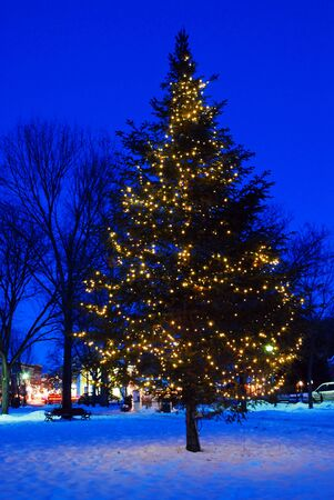 Photo for A Christmas tree lights up a Vermont town square at dusk - Royalty Free Image