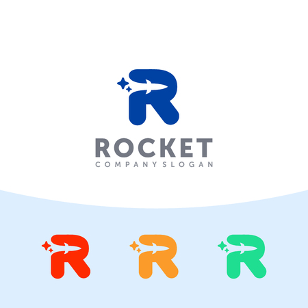 Ilustración de Rocket logo. Capital R letter with rocket in the negative space. - Imagen libre de derechos