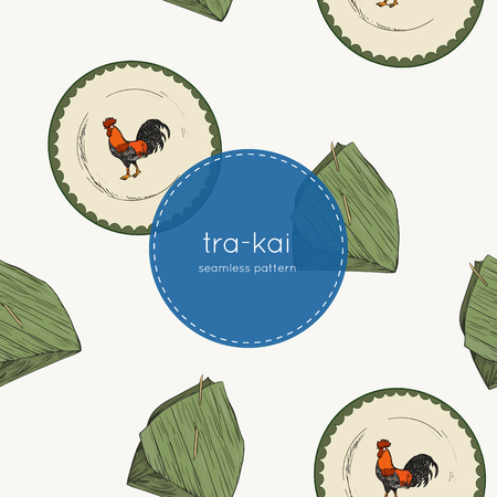 banana leaf and tra-kai plate, traditional of thailand tablewear, seamless pattern.