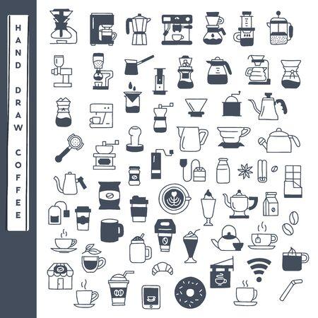 Illustration pour Hand draw coffee icon vector set. - image libre de droit