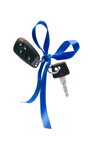 Car ignition key with security system, isolated on white