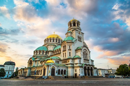 Photo for St. Alexander Nevsky Cathedral in the center of Sofia, capital of Bulgaria against the blue morning sky with colorful clouds - Royalty Free Image