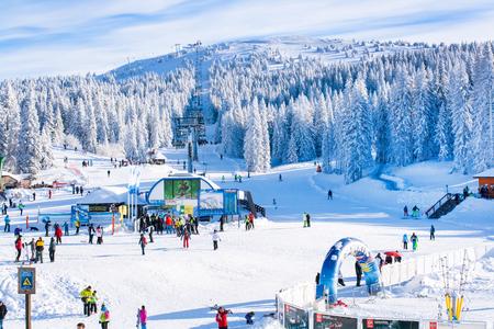 Kopaonik, Serbia - January 22, 2016: Panorama of ski resort Kopaonik, Serbia, ski slope, people, ski lift, mountains, winter time