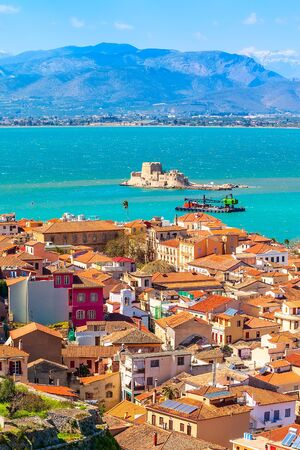 Foto per Nafplio or Nafplion, Greece, Peloponnese old town aerial panorama with sea and Bourtzi fortress - Immagine Royalty Free