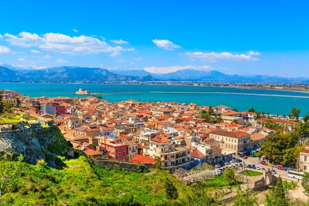 Photo pour Nafplio or Nafplion, Greece, Peloponnese old town aerial panorama with sea and Bourtzi fortress - image libre de droit
