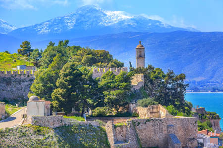 Photo for Nafplio or Nafplion, Greece, Peloponnese church on the hill, old town aerial panorama with snow mountain peaks - Royalty Free Image