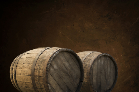 Photo pour background of barrel and worn old table of wood - image libre de droit