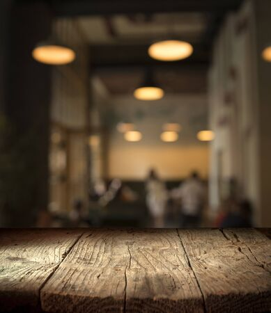 Photo for blurred background of bar and dark brown desk space of retro wood - Royalty Free Image