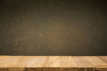 Photo for Empty brown wooden table and blur background of abstract of resturant lights people enjoy eating ,can be used for montage or display your products - Royalty Free Image