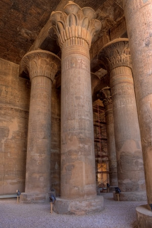 Magnificent tall columns in Khnum temple,Esna, Egypt