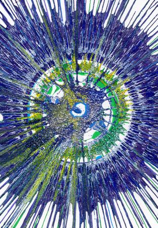 Colorful contemporary modern art acrylic blob drawing Jackson Pollock style