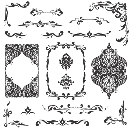 Illustration pour Large bundle of detailed vector borders, corners and dividers in islamic eastern style - image libre de droit