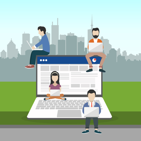 People sitting on big notebook. Social network web site. Surfing concept illustration of young people using lap top to be a part of on line community. Flat vector illustration