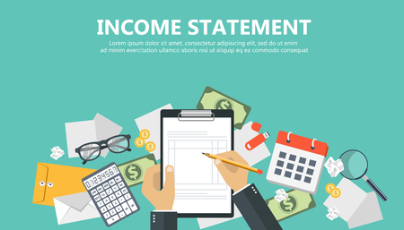 Photo pour Invoice. Financial calculations. Working process. Businessman hands, calculator, financial reports, money, coins, pen. Top view. Vector illustration in flat design on green background - image libre de droit