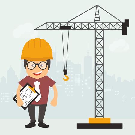 Illustration pour Engineer standing with construction plan document. Construction site. Engineering concept. Flat vector illustration - image libre de droit