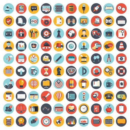 Illustration pour Business and management icon set for websites and mobile applications. Flat vector illustration - image libre de droit