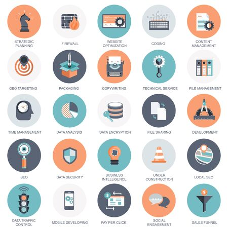 Photo pour Vector collection of colorful flat search engine optimization, business, technology and finances icons. Design elements for mobile and web applications. - image libre de droit
