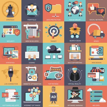 Illustration pour Business, technology, management and finances icon set collection. Flat vector illustration - image libre de droit