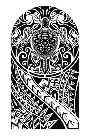 Traditional Maori tattoo design with turtle