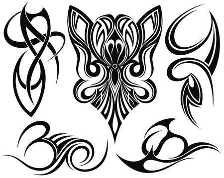 Illustration pour Style ornaments. Tribal art tattoo - image libre de droit