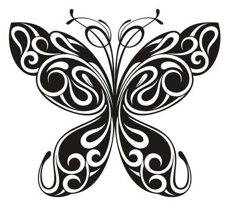 Illustration pour Graphic icon of butterfly. Butterfly tattoo isolated on white background. - image libre de droit