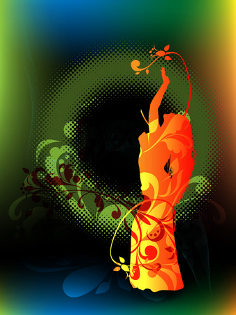Silhouette of the girl, dancing dance of the belly on abstract background with vegetable element and halftone