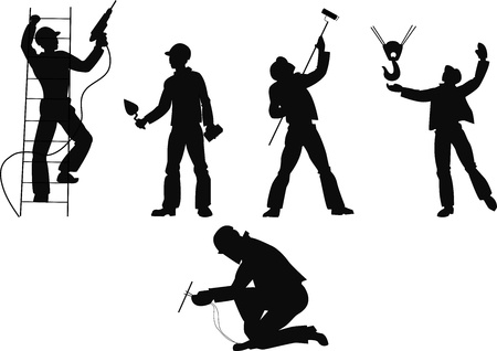 Silhouettes worker to building profession on transparent background
